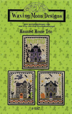 Waxing Moon Haunted House Trio Halloween cross stitch pattern