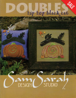Sam Sarah Hip Hop Black Cat Halloween cross stitch and Applique pattern