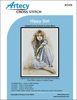 Artecy Hippy Girl cross stitvh pattern