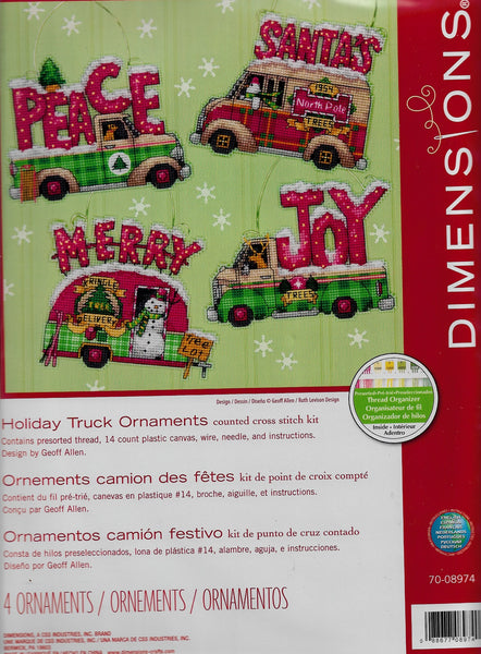 Dimensions Holiday Truck Ornaments Christmas cross stitch kit