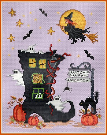 Sue Hillis Homecoming witch Halloween cross stitch pattern