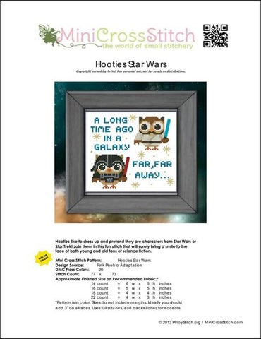 PinoyStitch Hooties Star Wars cross stitch pattern