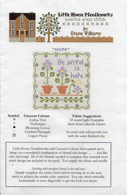 Little House Needleworks Hope cross stitch pattern