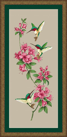 Kustom Krafts Hummingbirds and Rhododendons cross stitch pattern