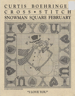 Curtis Boehringer I Love You snowman cross stitch pattern