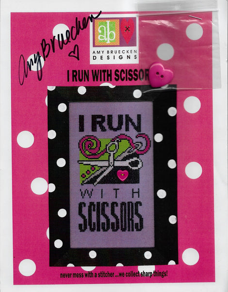 Amy Bruecken I run with scissors cross stitched pattern