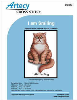 Artesy I am smiling roosevelt the cat cross stitch pattern