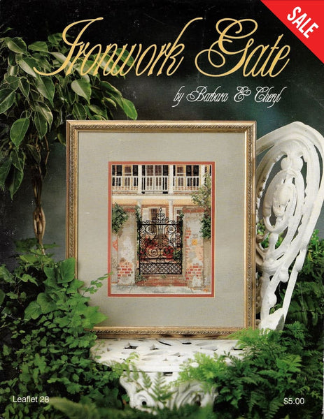 Barbara & Cheryl ironwork Gate 28 cross stitch pattern