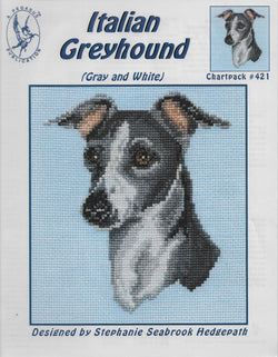 Pegasus Italian Grayhound (Gray) dog cross stitch pattern