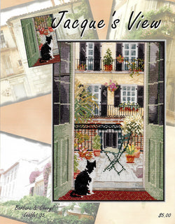Barbara & Cheryl Jacque's View cat cross stitch pattern