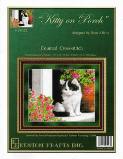 Kustom Krafts Kitty on Porch 98023 cross stitch pattern