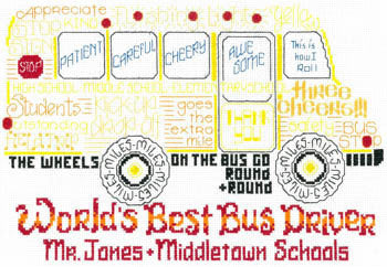 Imaginating Let's Cheer for the bus driver 3152 cross stitch pattern
