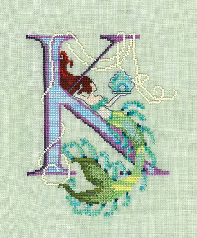 Mirabilia Letters from Mermaids K crosss stitch pattern