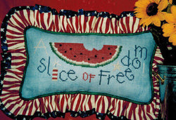 Lizzie Kate Slice of Freedom watermelon cross stitch pattern