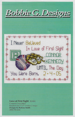 Bobbie G. Love at first site baby sampler cross stitch pattern