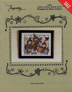 Imaginating Live Love Have Fun clown cross stitch pattern