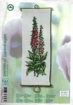 Permin of Copenhagen Lupin 36-5323 flower cross stitch banner kit