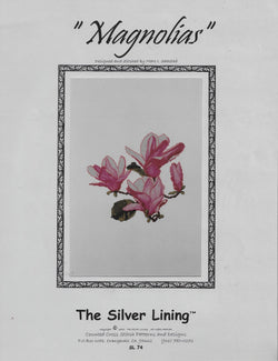 Silver Lining Magnolias flower cross stitch pattern