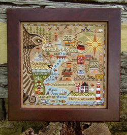 Carriage House Samplings Map of Hawk Run Hollow cross stitch pattern
