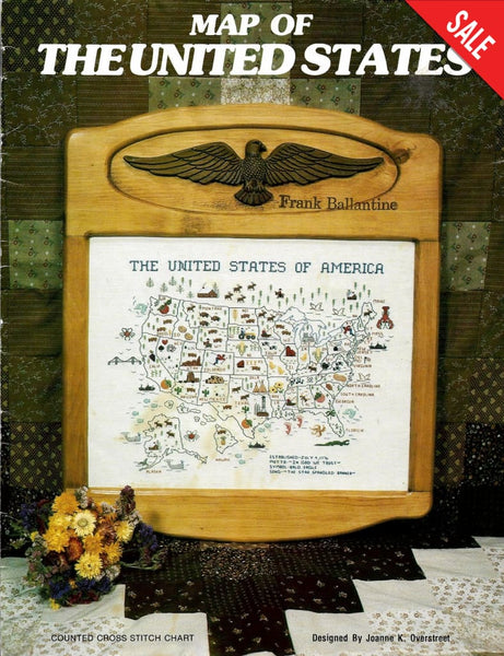 Smokey Mountain Map of the united States cross stitch pattern