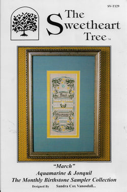 Sweetheart Tree March birthstone sampler cross stitch pattern