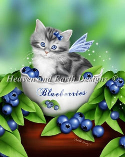 Heaven and Earth Designs Mini Blueberry Kitten cross stitch pattern