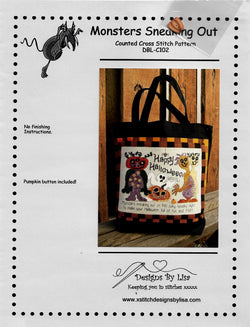 Designs by Lisa Monsters Sneaking Out DBL-C102 halloween cross stitch pattern