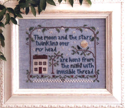 Little House Needleworks Moon and stars cross stitch pattern