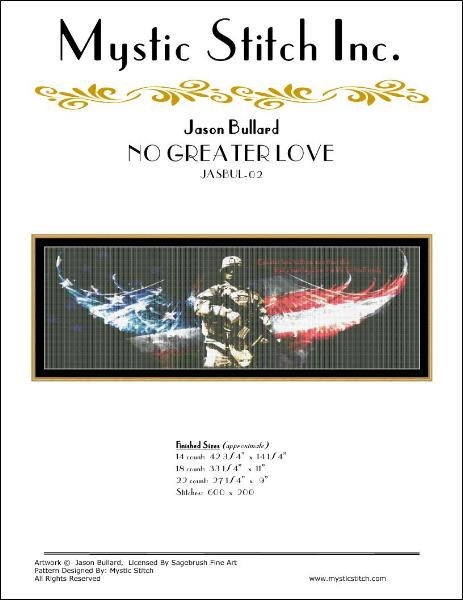 Mystic Stitch No Greater Love JASBUL-02 patriotic cross stitch pattern