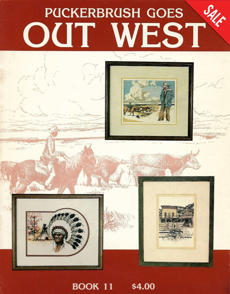 Puckerbrush Goes Out West Book 11 native cowboy cross stitch pattern