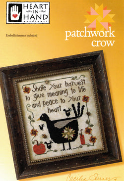 Heart in hand Patchwork Crow Harvest cross stitch pattern