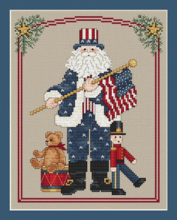 Sue Hillis Patriotic Santa L232 cross stitch pattern