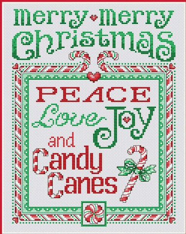 Sue Hillis Peace and Candy Canes L410 christmas cross stitch pattern