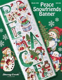 Stoney Creek Peace Snow Friends Banner BK494 snowman christmas cross stitch pattern