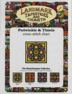 Landmark Periwinkle & Thistle flower cross stitch pattern