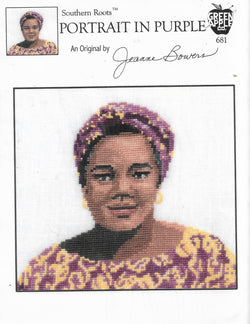 Green Apple Portrait in Purple African american cross stitch pattern