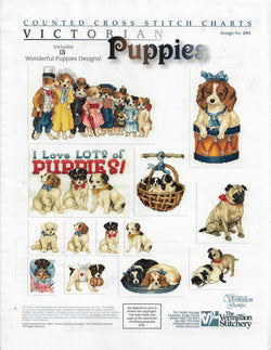 Vermillion Society Victorian Puppies cross stitch pattern