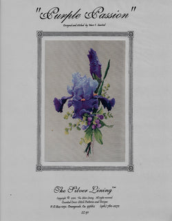 Silver Lining Purple Passion flower cross stitch pattern