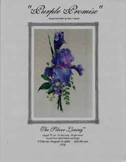 Silver Lining Purple Promise flower cross stitch pattern