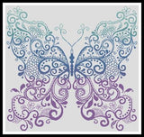Artesy Purple blue green butterfly tribal cross stitch pattern