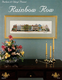 Barbara & Cheryl Rainbow Row Charleston, South carolina cross stitch pattern