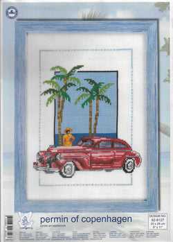 Permin of Copenhagen Red Car 92-8127 cross stitch kit