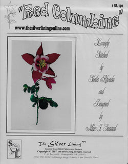 Silver lining Red Columbine flower cross stitch pattern