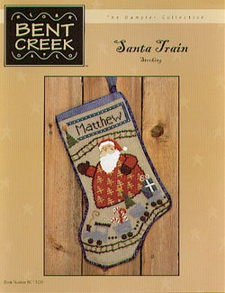 Bent Creek Santa Train Stocking Christmas cross stitch pattern