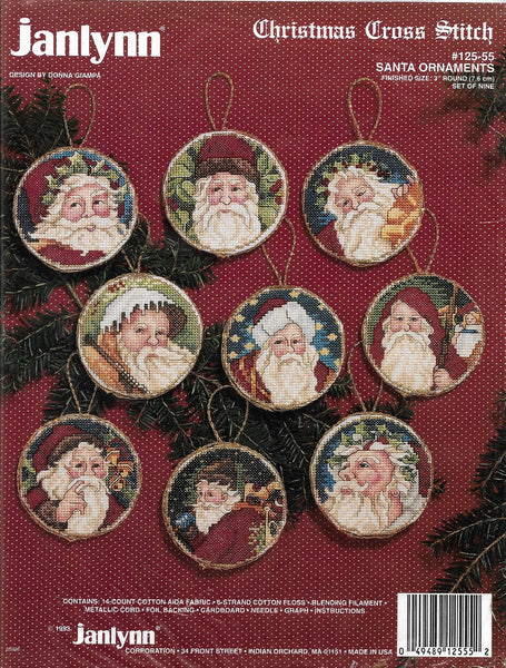 Jan Lynn Santa Ornaments 125-55 cross stitch kit