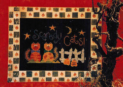 Lizzie Kate Scaredy Cats! halloween cross stitch pattern