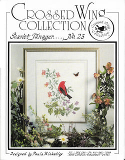 Crossed Wings Scarlet tanager No 23 bird cross stitch pattern