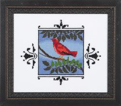 Mirabilia Scarlet Tanager NC-188 bird victorian cross stitch