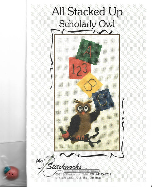Stitchworks All Stasked Up Scholarly Owl cross stitch pattern
