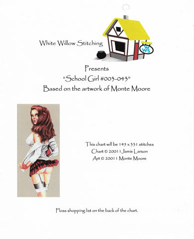 White Willow School Girl cross stitch pattern